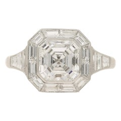 Asscher Cut Diamond Cluster Engagement Ring Set in Platinum