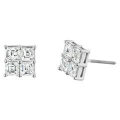 Asscher Cut Diamond Cluster Stud Earrings 1.98 Carat in 18 Karat