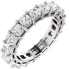 Asscher Cut Diamond Platinum Eternity Band, 3.70 Carat H-VS