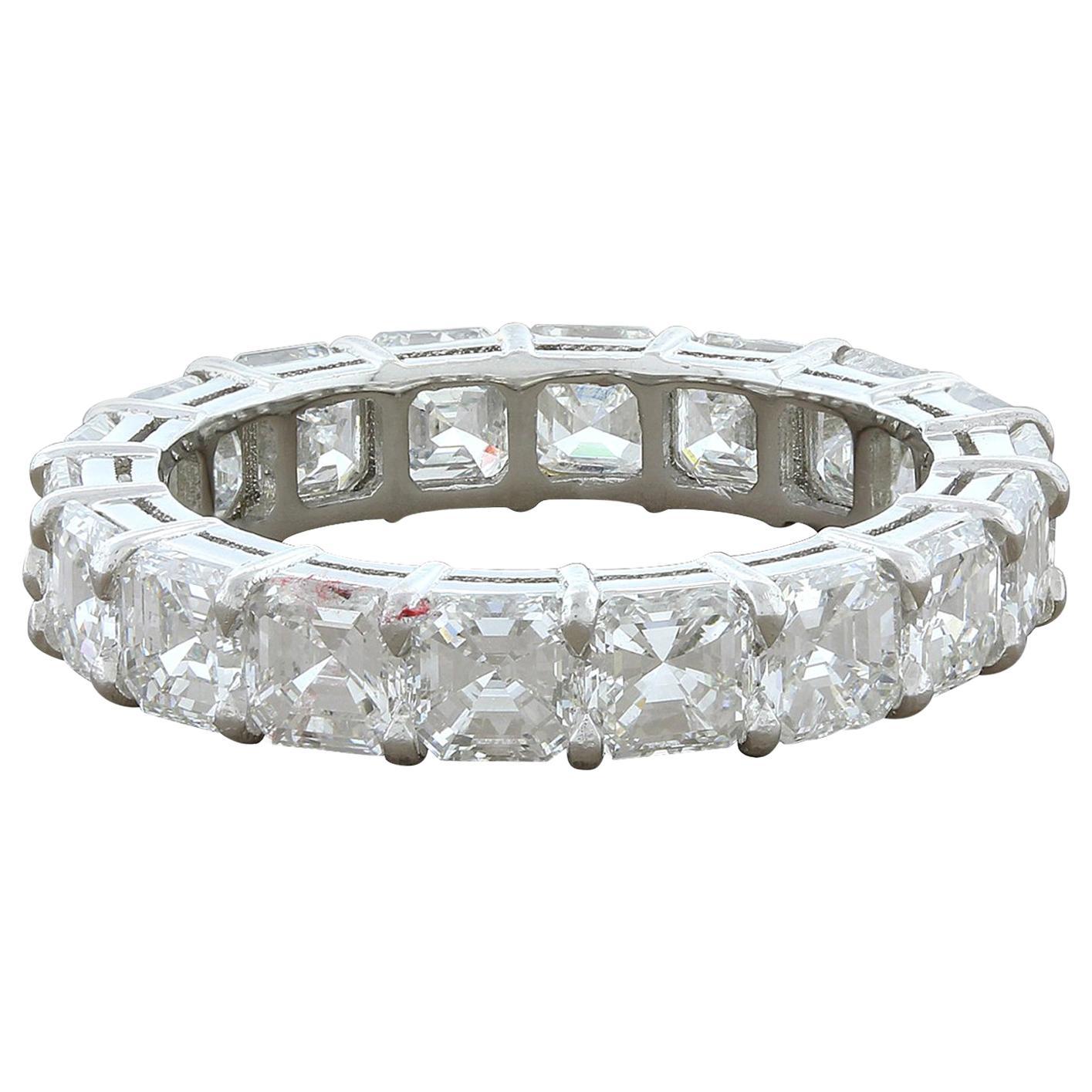 Asscher Cut Diamond Platinum Eternity Band