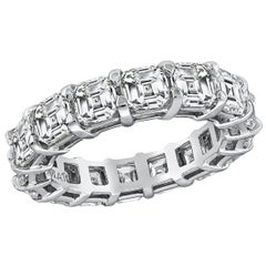 Asscher Cut Diamond Platinum Eternity Wedding Band