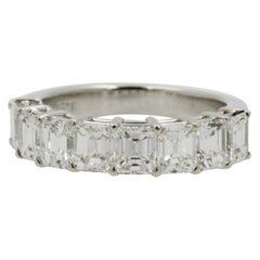Asscher Cut Diamond Platinum Half Way Band Ring