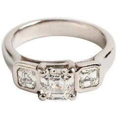 Asscher Cut Diamond Trilogy Ring, Platinum Band, Estimate 1.55 Carat