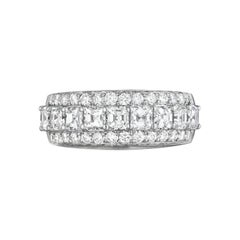 Asscher Cut Diamond Wedding Ring with 1.81 Carat Total Weight in 18 Karat White