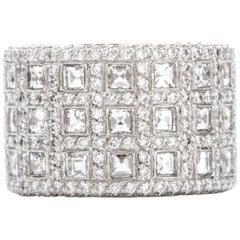 Asscher Cut Diamond Wide Platinum Eternity Ring Band