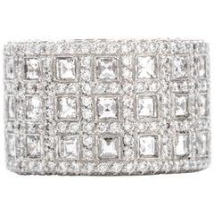 Asscher Cut Diamond Wide Platinum Eternity Ring Band
