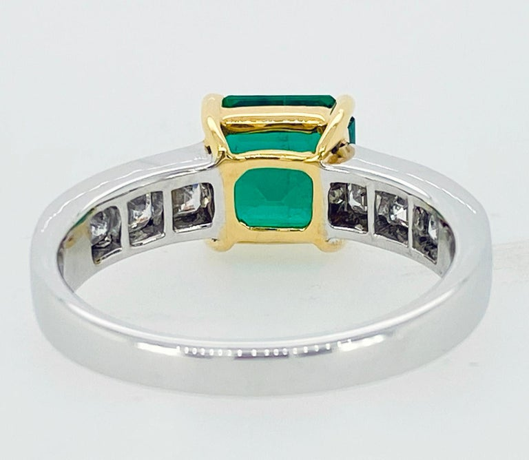 Asscher Cut Emerald and Diamond Ring In New Condition For Sale In Carmel, CA