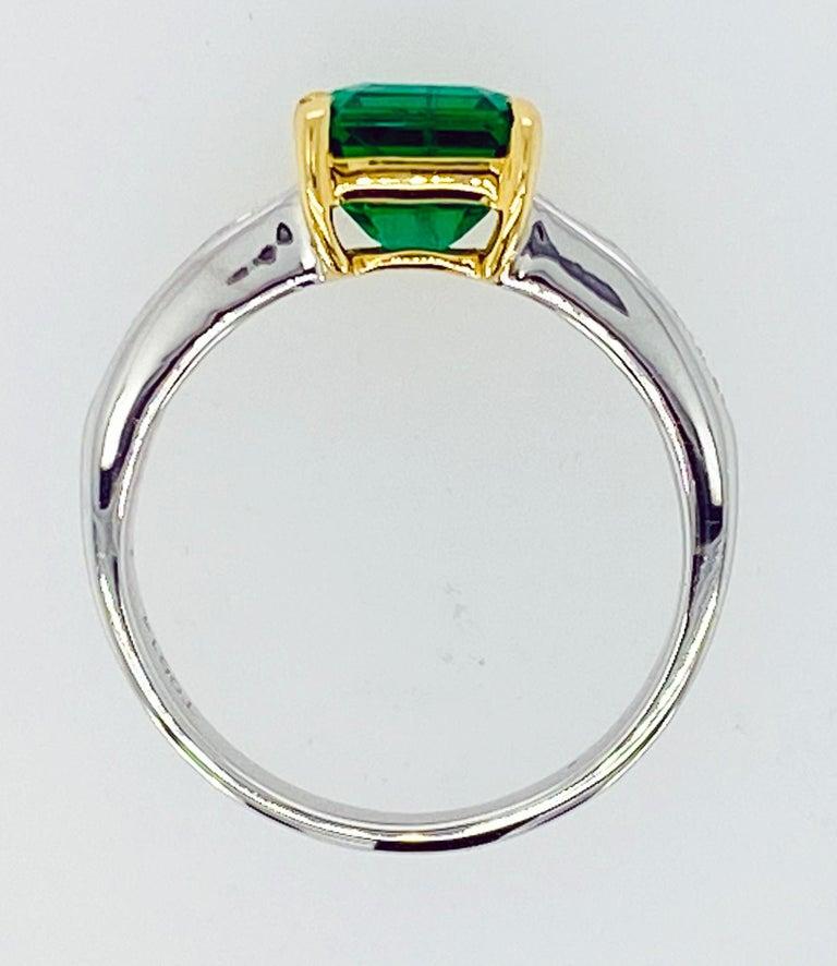 Women's or Men's Asscher Cut Emerald and Diamond Ring For Sale