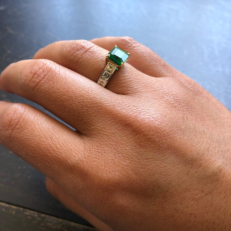 Asscher Cut Emerald and Diamond Ring For Sale 1