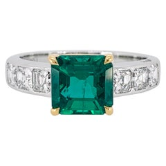 Asscher Cut Emerald and Diamond Ring
