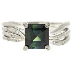 Asscher Cut Montana Sapphire Engagement Ring with Diamond Pavé