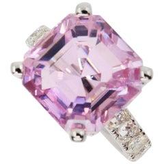 Asscher Cut Pink Kunzite 10.73 Carat and Diamond Cocktail Ring, Statement Piece