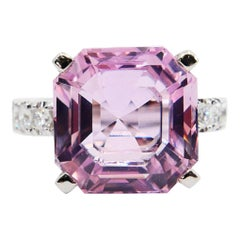 Asscher Cut Pink Kunzite 11.66 Carat and Diamond Cocktail Ring, Statement Ring