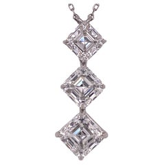 Asscher Cut Three Diamond Platinum Drop Pendant Necklace GIA Certified Diamonds