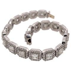 Asscher Cut White Diamond Halo Tennis Bracelet