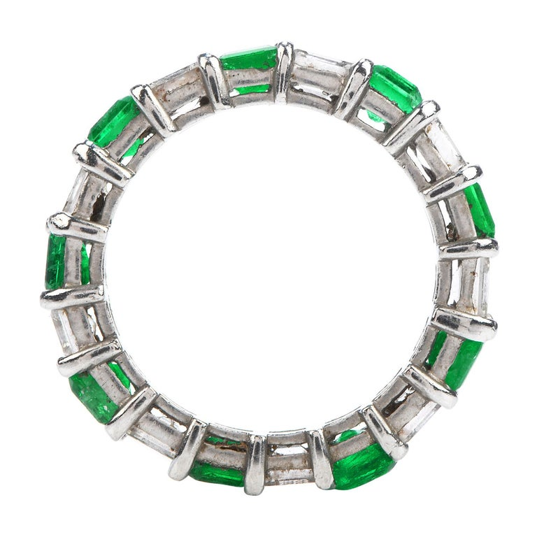 Art Deco Asscher Diamond Emerald Platinum Eternity Band Ring For Sale