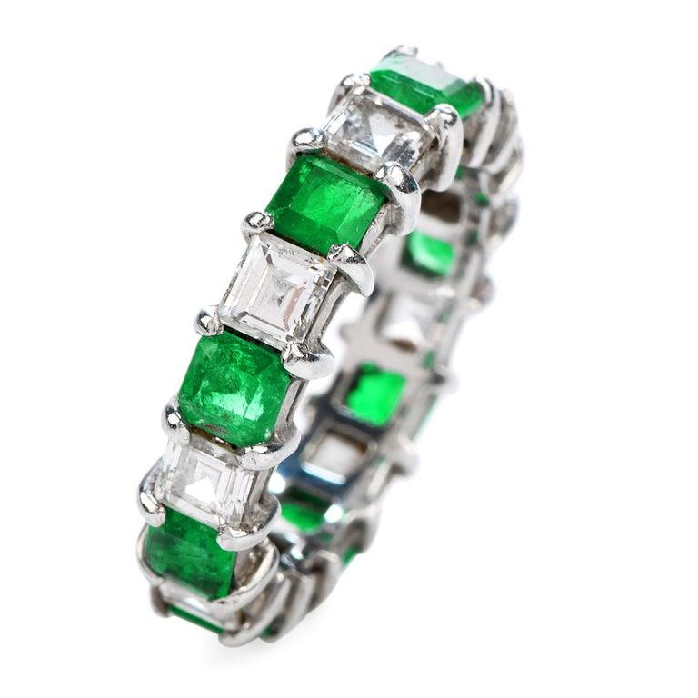Asscher Cut Asscher Diamond Emerald Platinum Eternity Band Ring For Sale