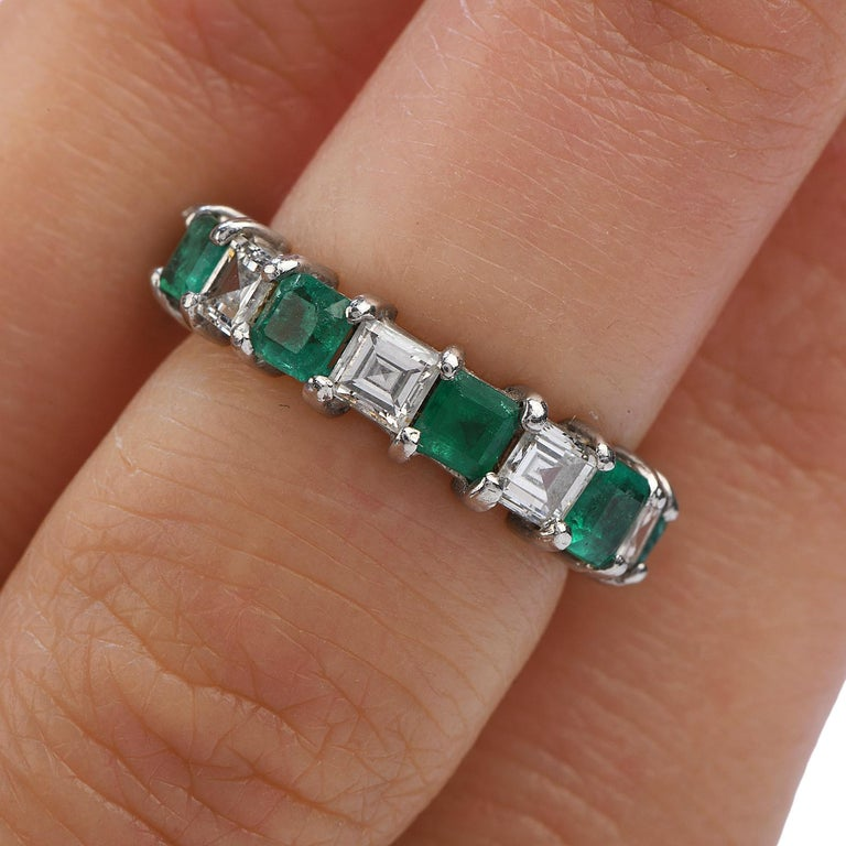 Asscher Diamond Emerald Platinum Eternity Band Ring In Excellent Condition For Sale In Miami, FL