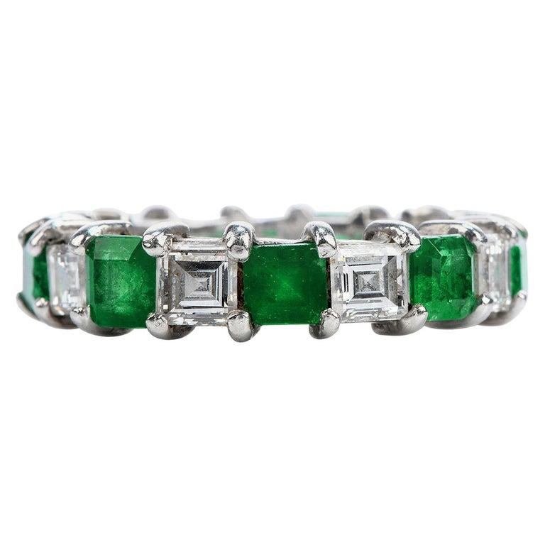 Asscher Diamond Emerald Platinum Eternity Band Ring For Sale