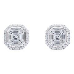 Asscher Shaped Diamond Earrings, 18 Karat White Gold