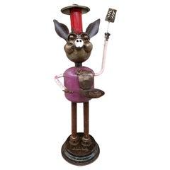 Assemblage Art Metal Sculpture Pig Caricature