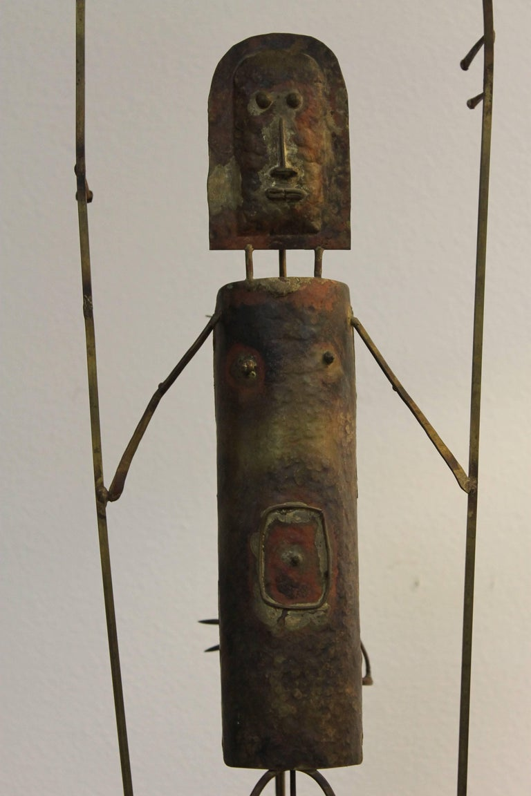 Whimsical assemblage titled Hitch Hiker by Carter Gibson. Looks like a burning man assemblage. Sculpture is 21.25
