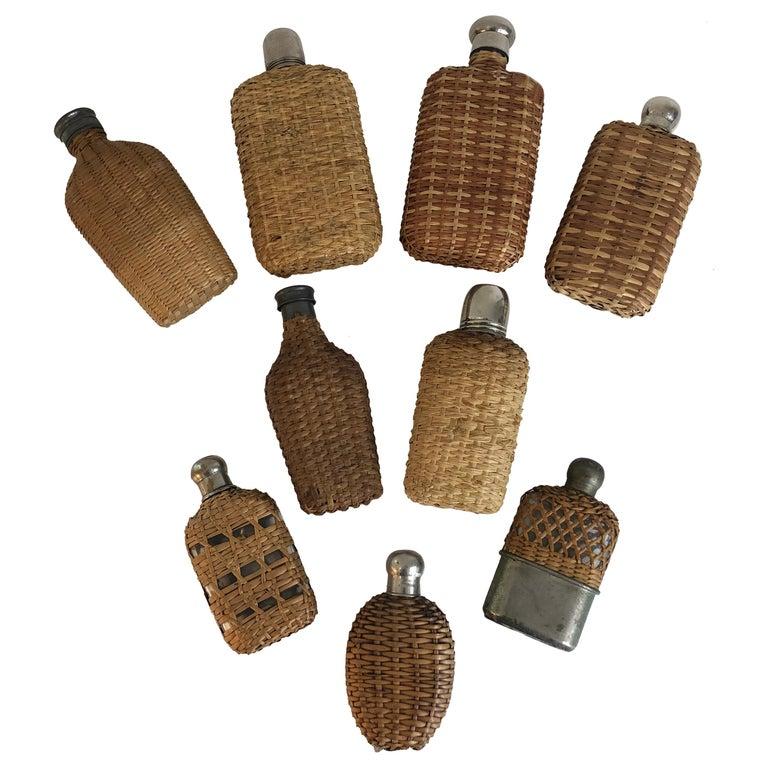 Assembled Collection of Nine Vintage Wicker Flasks For Sale