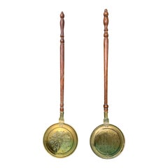 Assembled Pair of 19th-20th Century Brass and Wood Bed Warmers