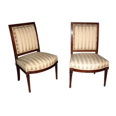 Assembled Pair of 19th Century French Directoire Style Side Chairs