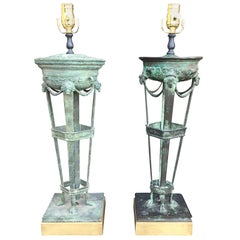 Assembled Pair of 19th Century Grand Tour Style Bronze Verdigris Lamps