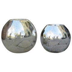 Assembled Pair of 20th Century Mirrored Glass Orb Candleholders