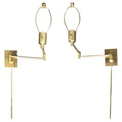 Assembled Pair of Brass Swing Arm Sconces, One Marked Hinson, Other Hansen
