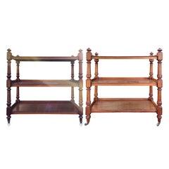 Assembled Pair of circa 1820s-1840s English Regency Mahogany Trolleys