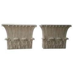 Assembled Pair of Corinthian Carved Wooden Column Tops, circa 1930s