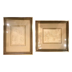 Assembled Pair of Italian Engravings, One by Perugino, One by Battista Franco