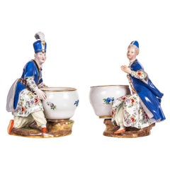 Assembled Pmeair of Meissen Porcelain Figural Salts