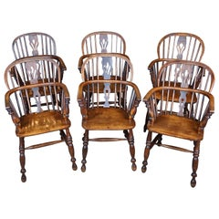 Assembled Set of 6 English Elm Low Back Windsor Armchairs