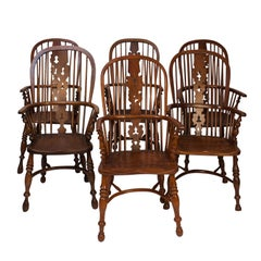 Assembled Set of 6 Windsor Armchairs, England, 19th Century