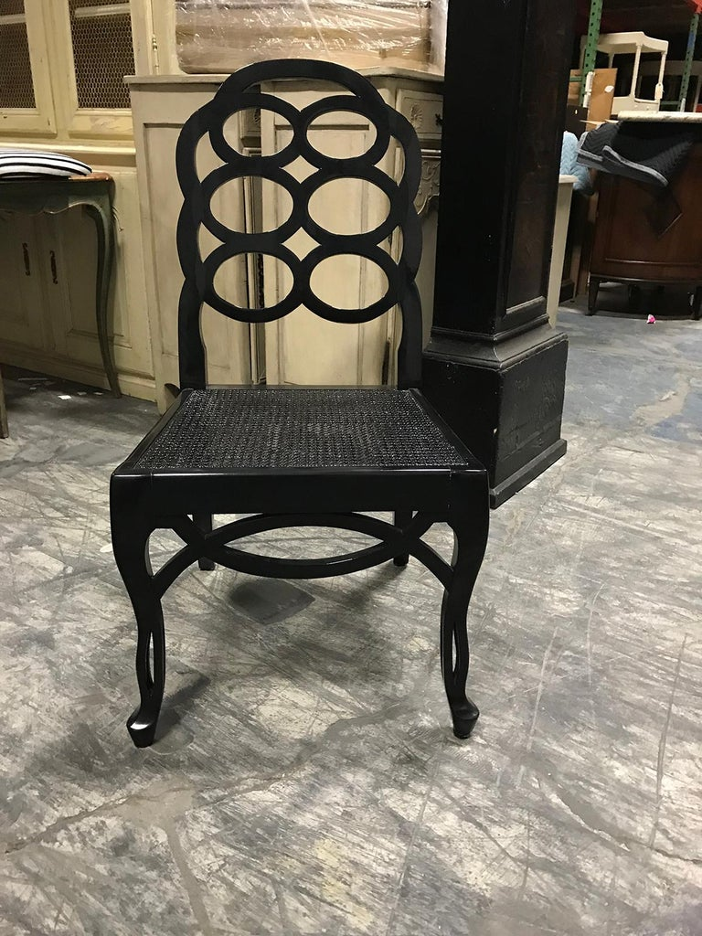 Assembled set of 8 20th century loop dining chairs in the style of Frances Elkins