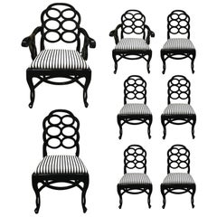 Assembled Set of 8 Loop Dining Chairs in the Style of Frances Elkins