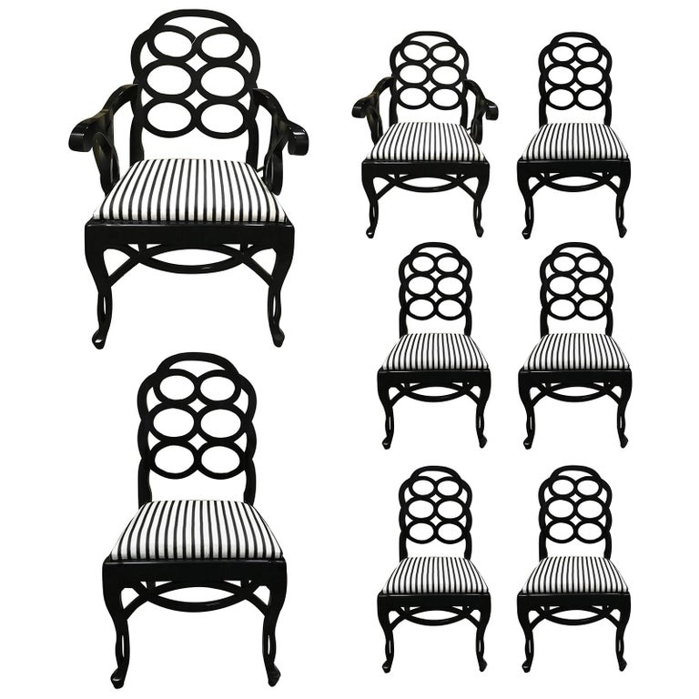 Assembled Set of 8 Loop Dining Chairs in the Style of Frances Elkins For Sale