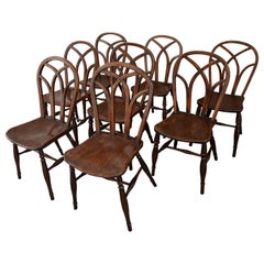 Assembled Set of Eight Hoop Back Gothic Windsor Side Chairs