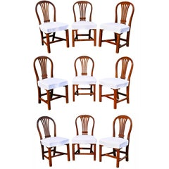Assembled Set of Nine George III Mahogany Dining Chairs