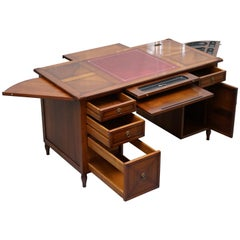 ASSI D'ASOLO ITALY CHERRY WOOD LEATHER DESK DESIGNED To HOUSE COMPUTER