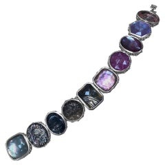 Stephen Dweck Assorted Gemstones & Pearl set in a Sterling Silver Bracelet