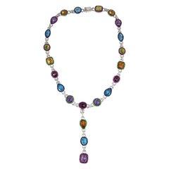 Assorted Semi-Precious Stones Necklace Detachable Pendant Set in 18k White Gold