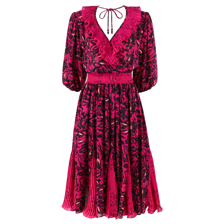 ASSORTI for SUSAN FREIS c.1980's Purple Black Floral Pleated Ruffle Midi Dress