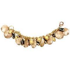 Assunta Giovanno Murano Glass And Resin Charm Bracelet Italian Vintage