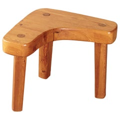 Assymentrical Pine Stool or Side Table by Stig Sandqvist, Sweden, 1960s