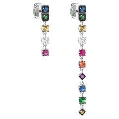 Assymetric Tsavorite Ruby Blue Orange Sapphire Diamond Gold Dangle Earrings
